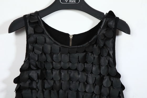 Unique Top Fashion Womens Club Dresses Party Frocks Sleeveless PU Leather Scales