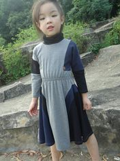 China Grey  Turtleneck 5 Year Baby Girl Dress , Little Girl Long Sleeve Dresses Cotton Spandex supplier