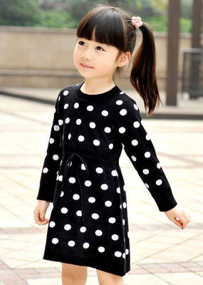 China Polka Dots Jacquard Knit Little Girls Winter Dresses Full Sleeve 4 Year Old Girl Clothes supplier