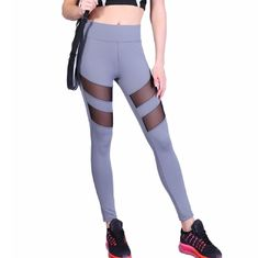 High Stretched Womens Sports Leggings , Blocked Grey Printed Yoga Leggings