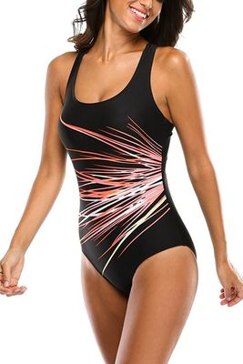U Neck Sports Womens Swimming Suits Wide Shoulder Straps Unique Lines Printing