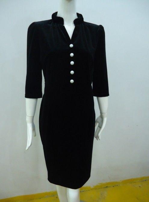 Black Velvet Women Office Dress Womens Half Sleeve Button
