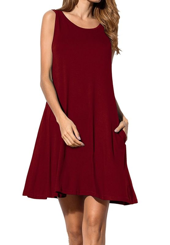 165ba72b1ea China Burgundy T Shirt Style Womens Casual Summer Dresses With Pocket  supplier