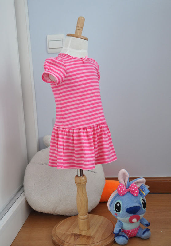 Bow Neck Girls Pink And White Striped Dress , Young Girls Party ...