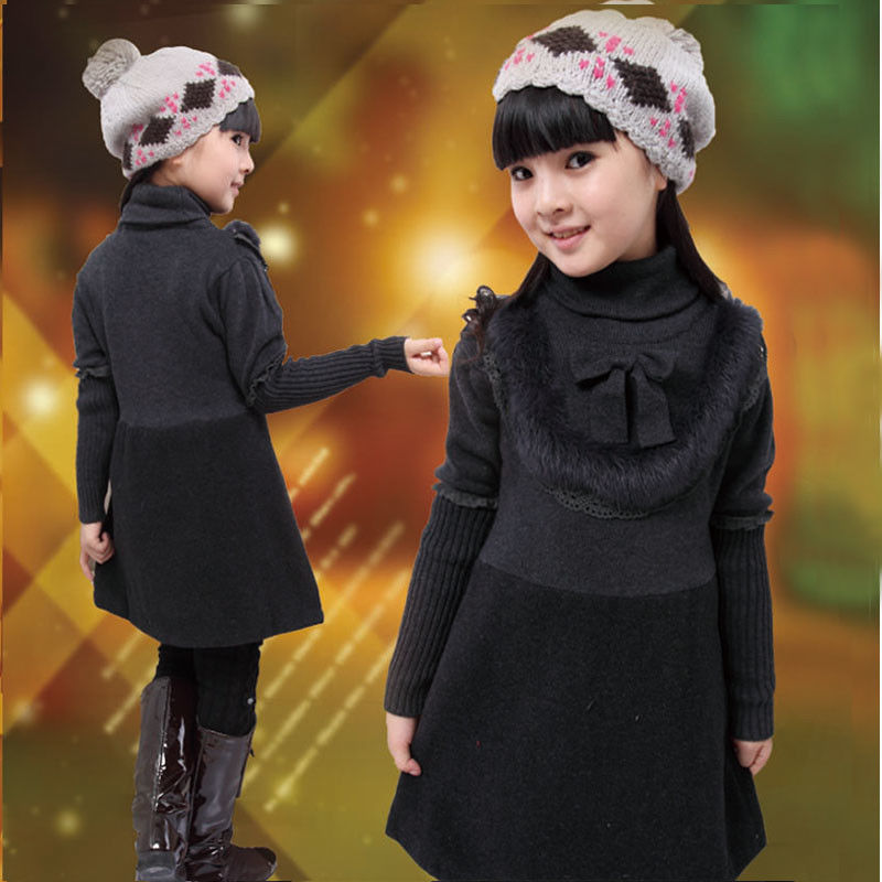 431ce9a4089b Uneven Grey Turtleneck Little Girls Winter Dresses With Bow 5 Year ...