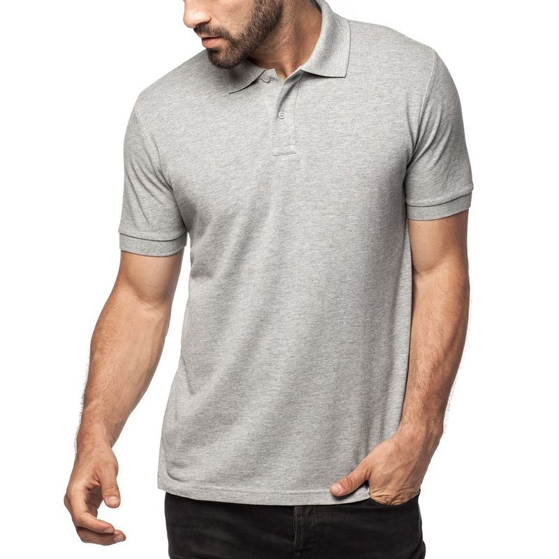 Pique knit rib collar and cuff mens cotton polo shirts 2 for Men s cotton polo shirts with pocket