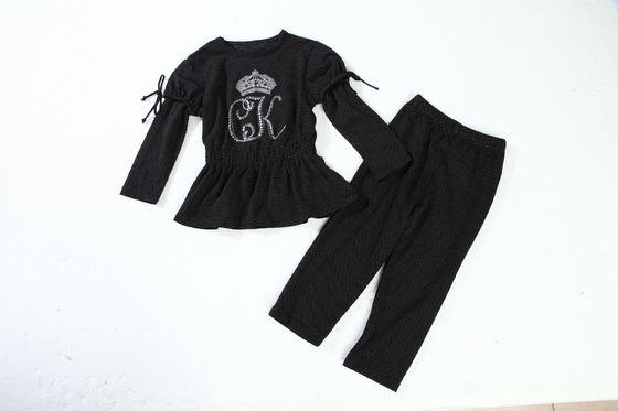 Black And White Children'S Cotton Pajamas Little Girl Pajamas With Heat Transfer Logo
