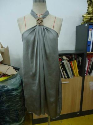 Grey Chiffon Womens Club Dresses Boutiques Open Back Knot / Halter Neck Short Dress