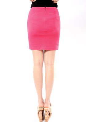 Polyester Women Office Dress Black  Faux Pocket Invisible Zip Back Pencil Skirt