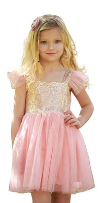 Princess Pink Ruffles Little Girl Summer Dresses Kids Birthday Party Dress Gold Sequin