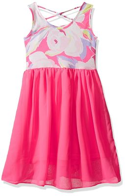 Floral Top Little Girl Summer Dresses Size 7 Chiffon Criss Cross Back Dress