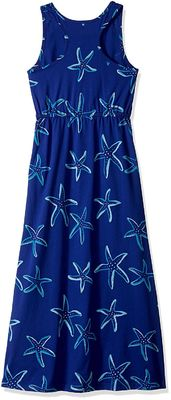 Blue Starfish Printing Little Girl Summer Dresses Kids Sleeveless Dress Round Neck