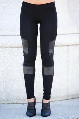 Black Women'S Fashion Leggings PU Leather Leggings 92% Cotton 8% Spandex