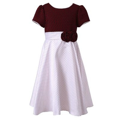 Short Sleeve Little Girls Fall Dresses Princess Dresses For Kids Roses Tie Bow Back