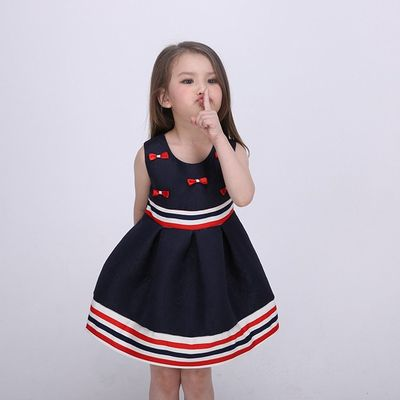 Sleeveless Bow Front  Girls Fall Dresses Strips Tape Waist And Bottom Age 5