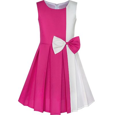 Unique Trendy  Girls Fall Dresses Chiffon Childrens Long Dress 2 Color Blocked