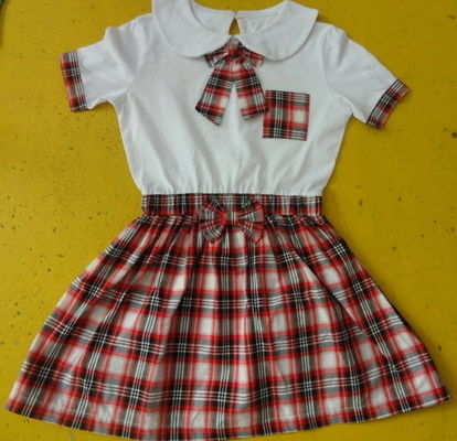100% Cotton Checked Girls School Uniform Dresses , Summer Kids Uniform Dress