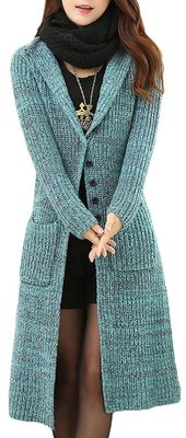 Melange Cable Knit Womens Long Cardigans Women'S Button Front Cardigan Sweaters