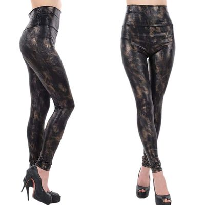 Skinny Leopard Print Yoga Leggings , High Waisted Faux Leather Leggings For Girls
