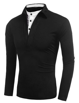 Fitted Mens Long Sleeve Polo T Shirts , Button Up False 2 Neck Polo Collar T Shirt
