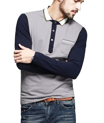 Color Block Ribbed Mens Polo T Shirts With Sleeves Placket Unfunctional Pocket