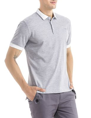 Short Sleeves Mens Polo T Shirts 100% Cotton Pique 3 Buttons Placket