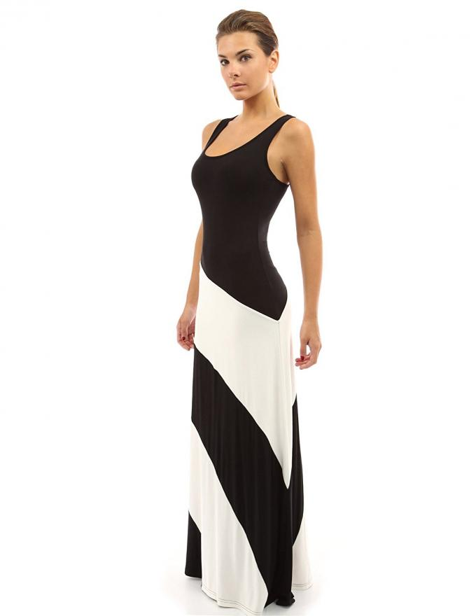 Muti Panels Womens Maxi Sundresses , Black And White Striped Maxi Dresses For Tall Women