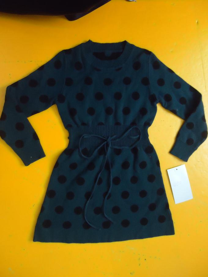Polka Dots Jacquard Knit Little Girls Winter Dresses Full Sleeve 4 Year Old Girl Clothes