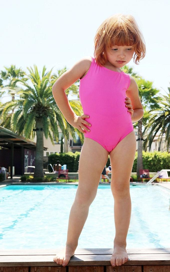 Little Girls Solid Color Basic Bikini Bathing Suits , girls One Piece Bathing Suits